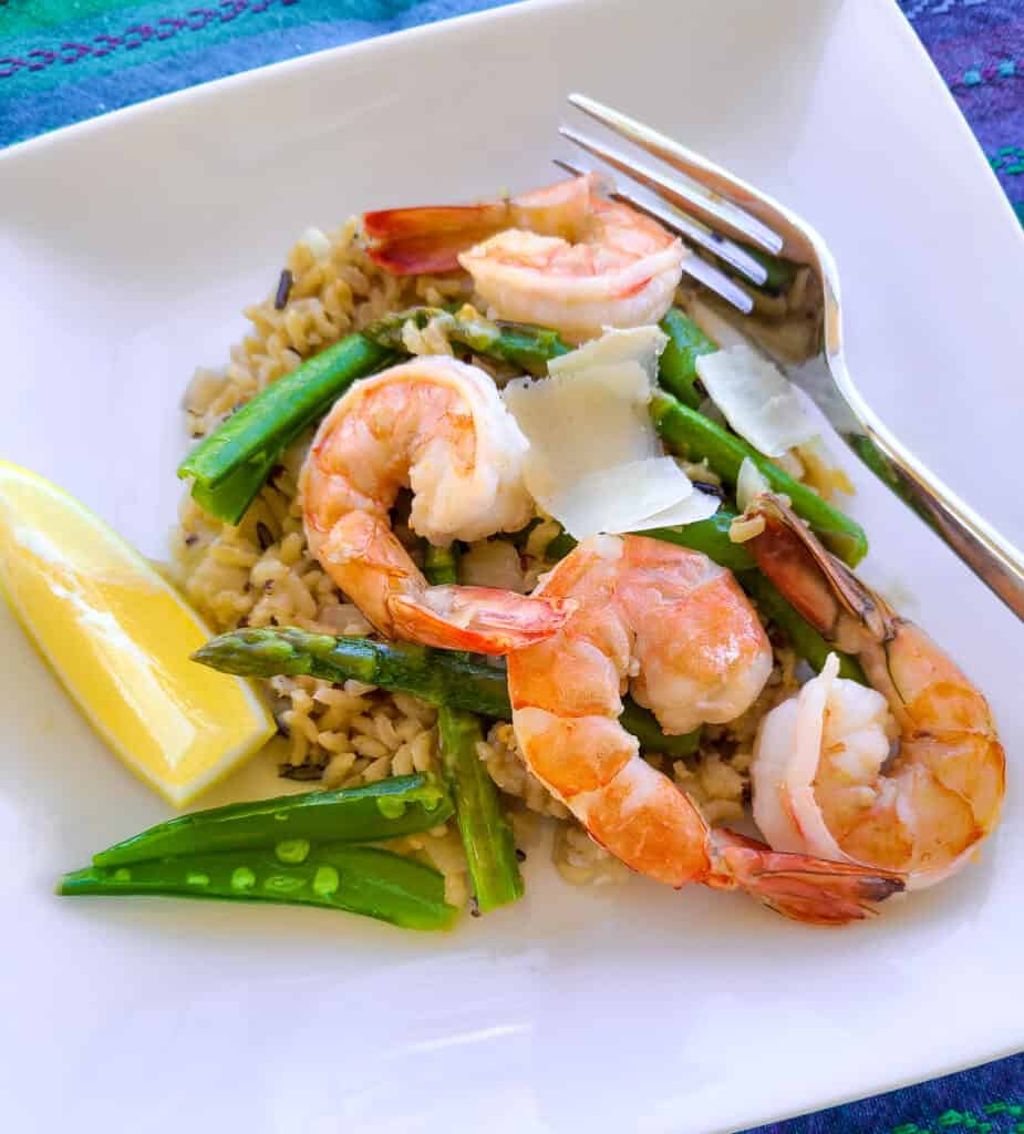 shrimp risotto with spring vegetables | Eat. Drink. Work. Play.