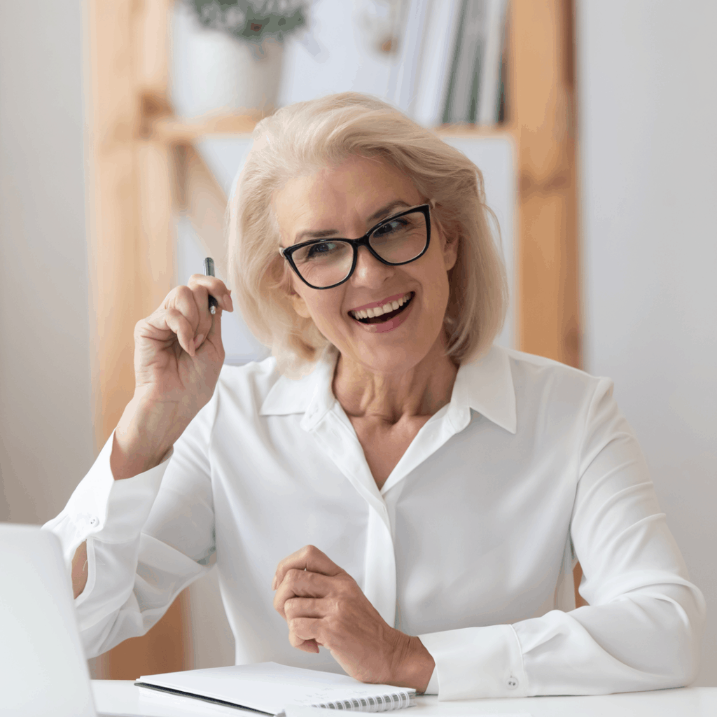 older woman on a virtual job interview | Eat. Drink. Work. Play.