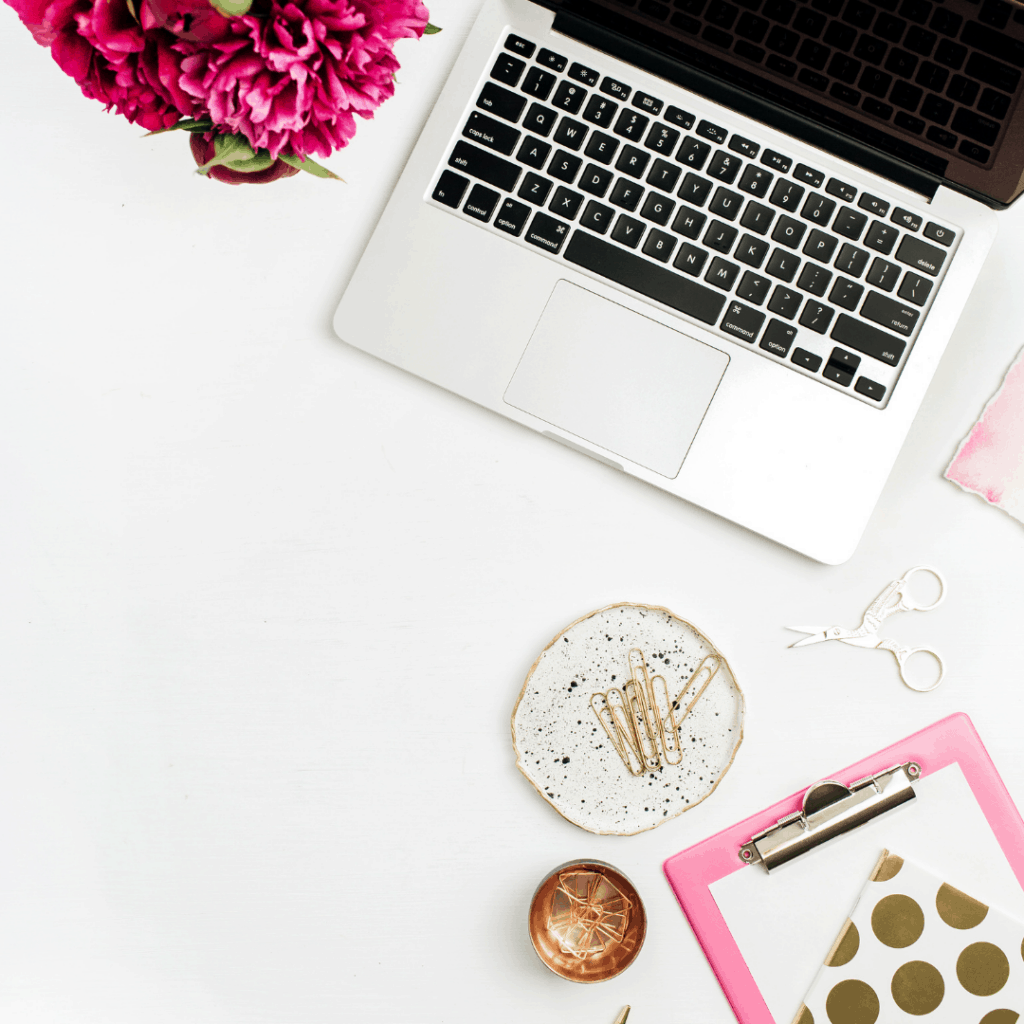 laptop and flowers at home office | Maximize Your Personal Brand | Eat. Drink. Work. Play.